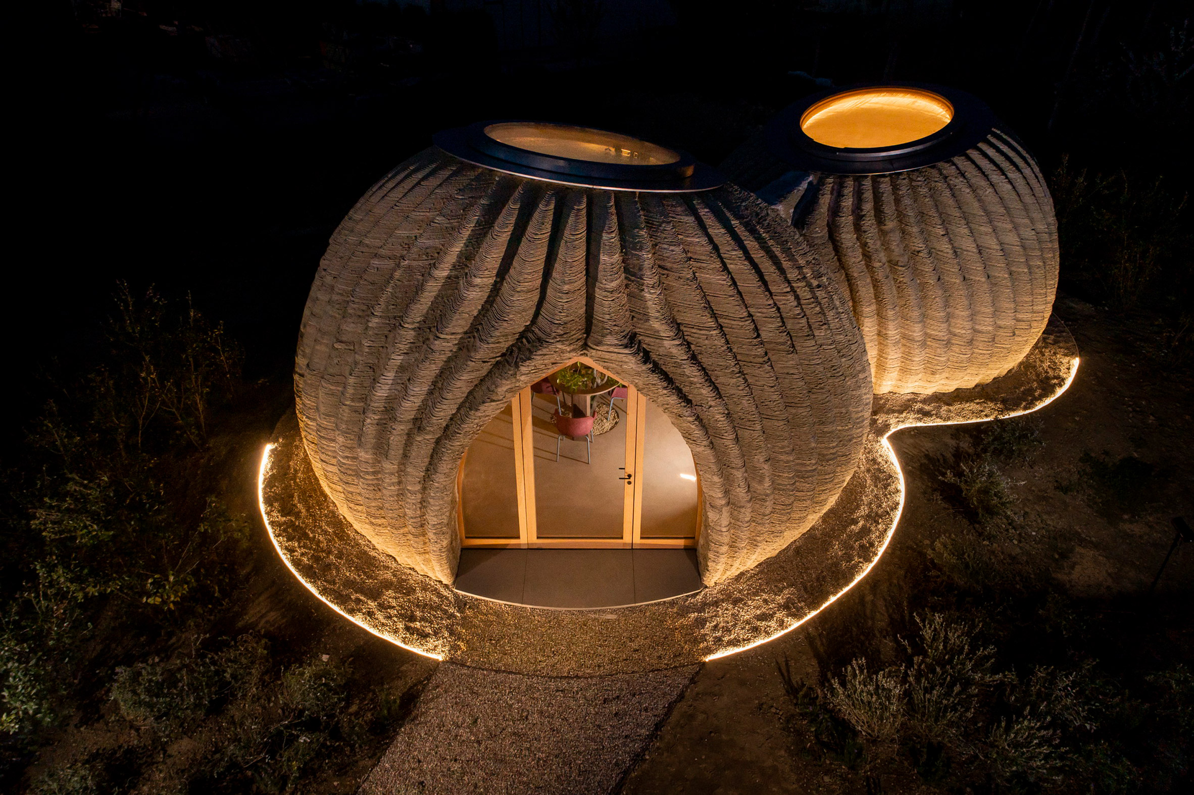 The 3D-printed prototypes are fitted with a skylight by Mario Cucinella Architects and Wasp