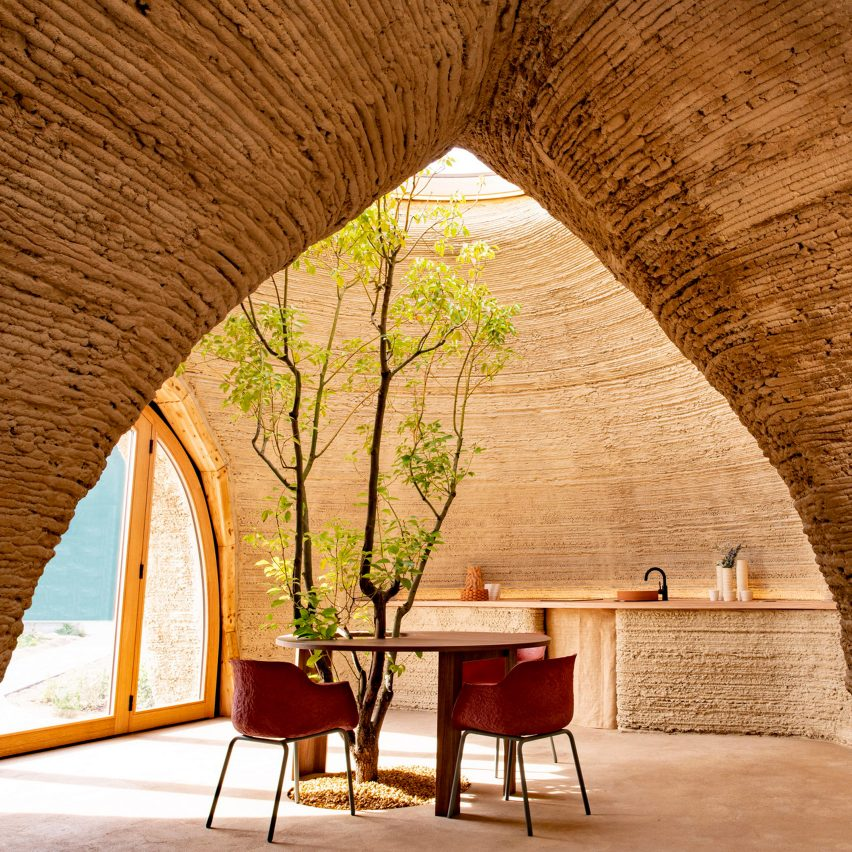 3D-printed clay house