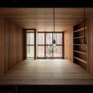 The dark interiors of a old row house in Kyoto