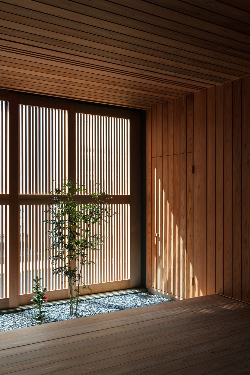 A cedar-lined living space