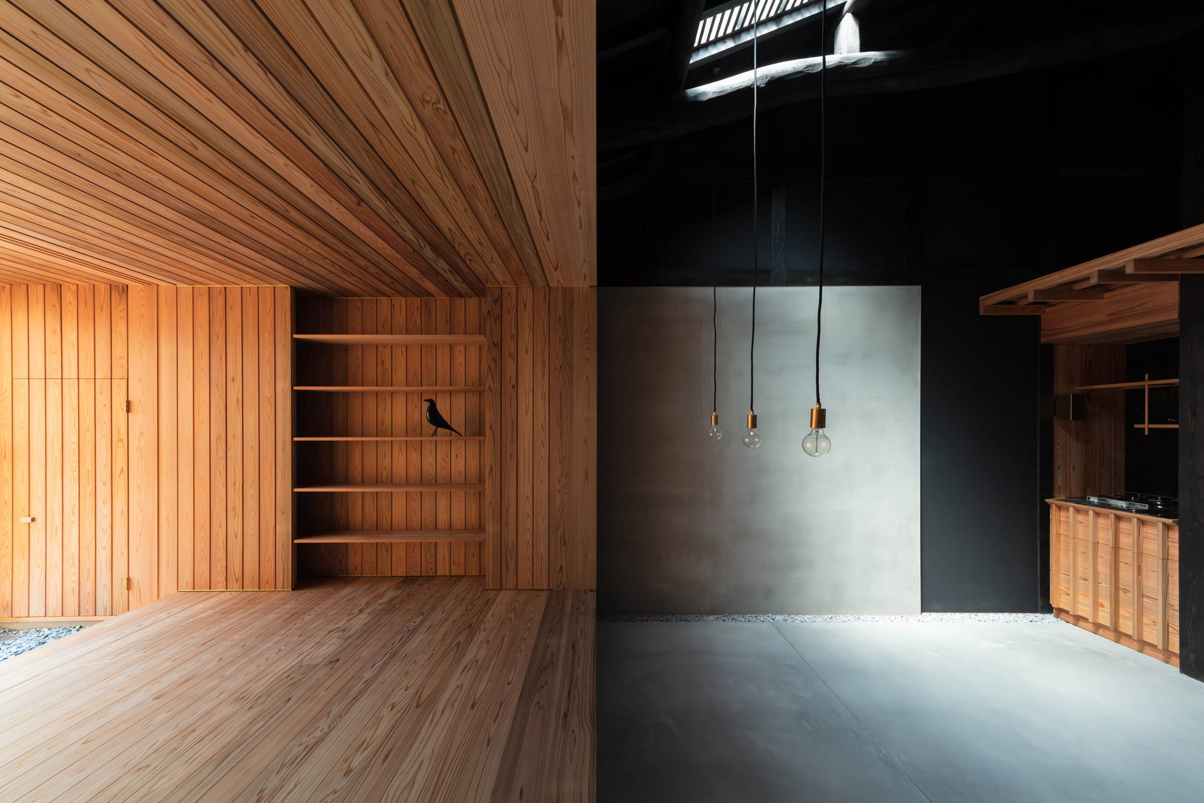 A Japanese house with contrasting living spaces