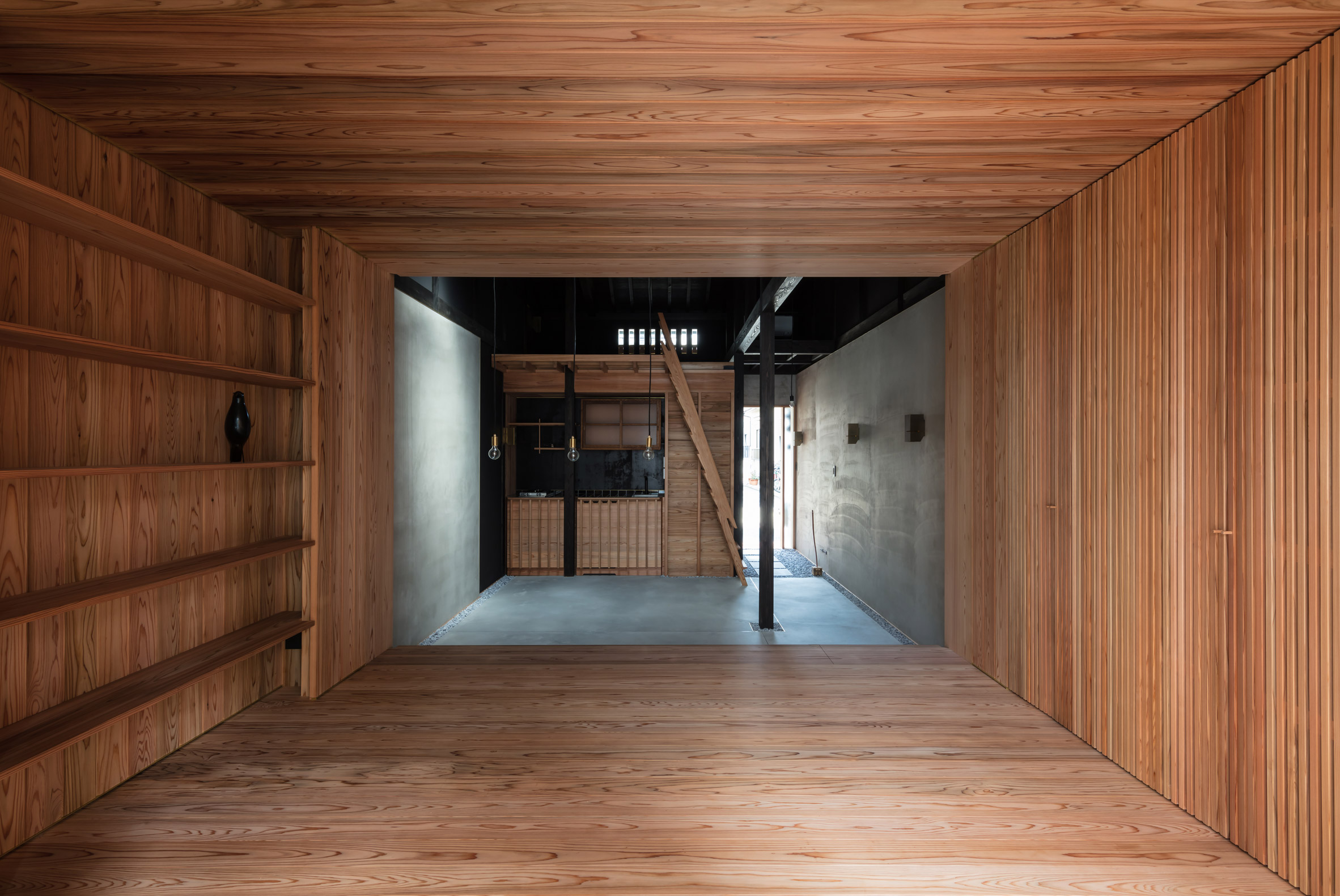 A cedar-lined living room