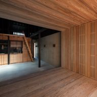 A cedar-lined living space in a Japanese house