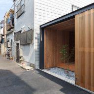 The rear facade of the Terrace House near Demachiyanagi