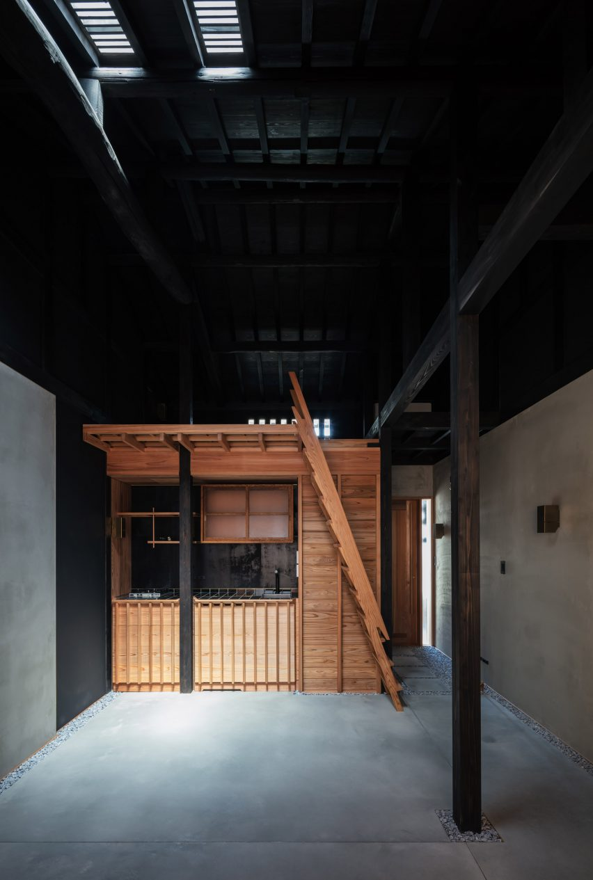 The dark interiors of a narrow Japanese house