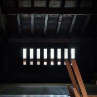 A dark loft inside a Japanese house