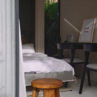 A guest bedroom in a garden annexe
