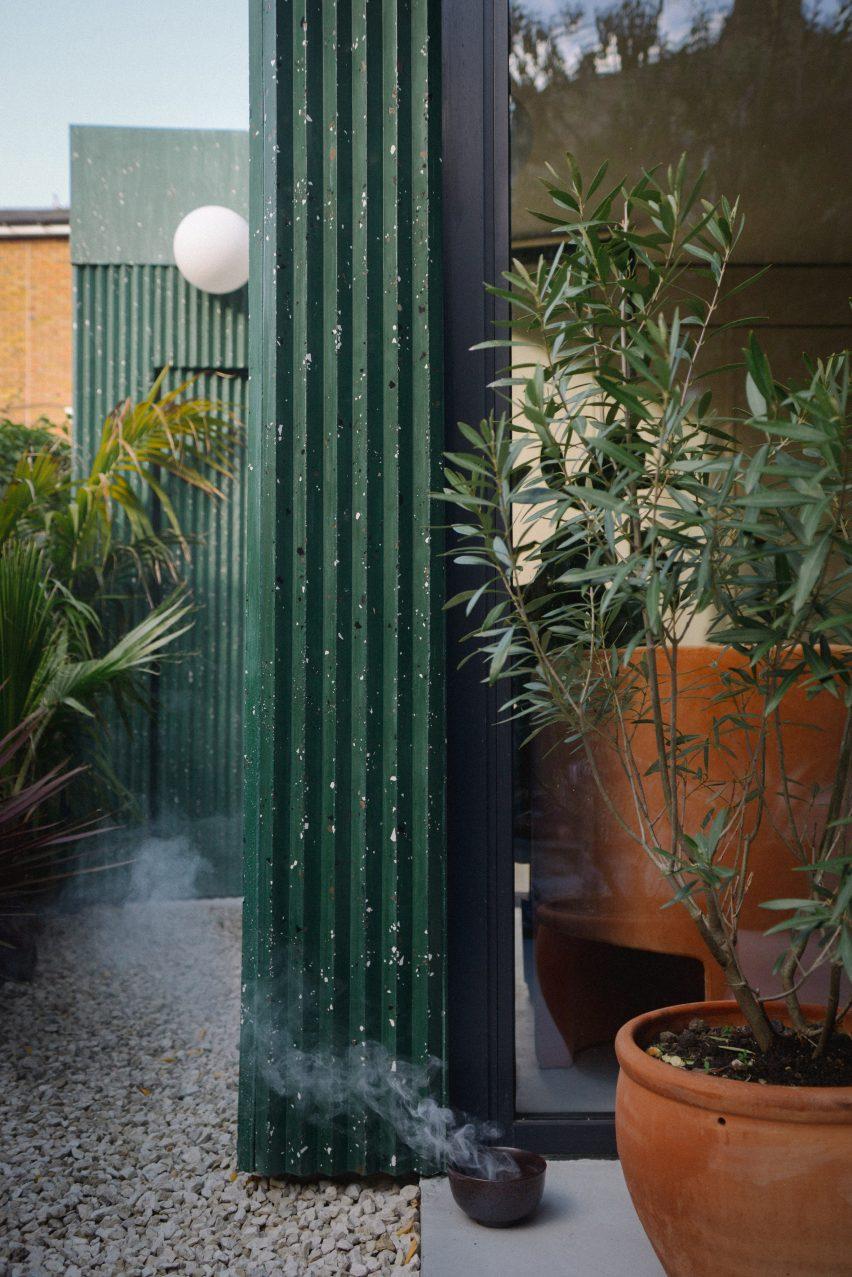 Green terrazzo cladding