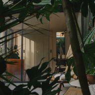 A studio through foliage of a London garden