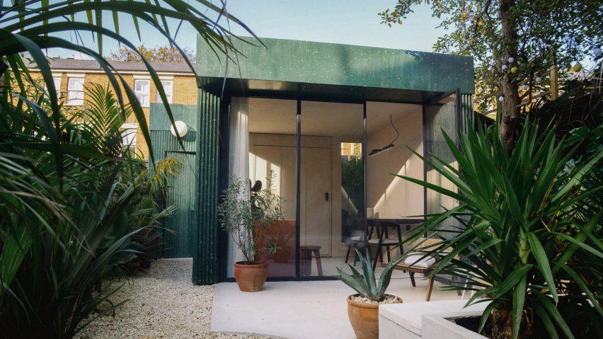 A garden studio clad in terrazzo