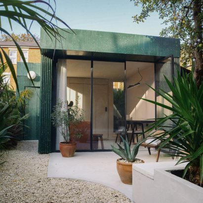 A studio clad in green terrazzo