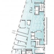 Ground floor plan of The Aya by Studio Twenty Seven Architecture and Leo A Daly