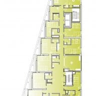 Second floor plan of The Aya by Studio Twenty Seven Architecture and Leo A Daly