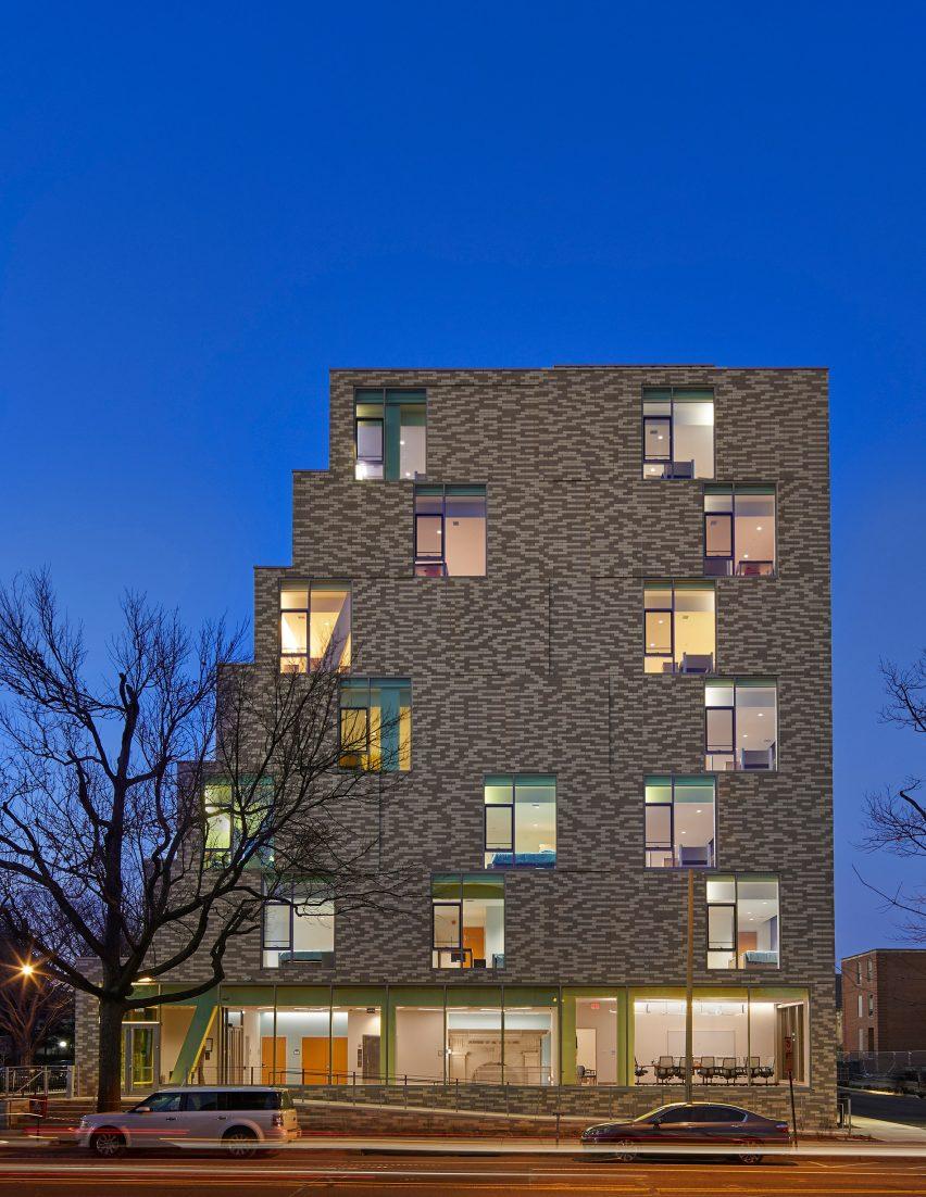 A brick housing complex in Washington DC