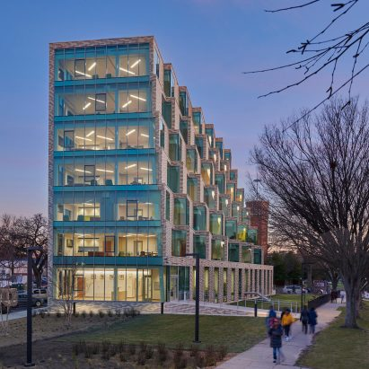 A brick and glass housing block in Washington DC