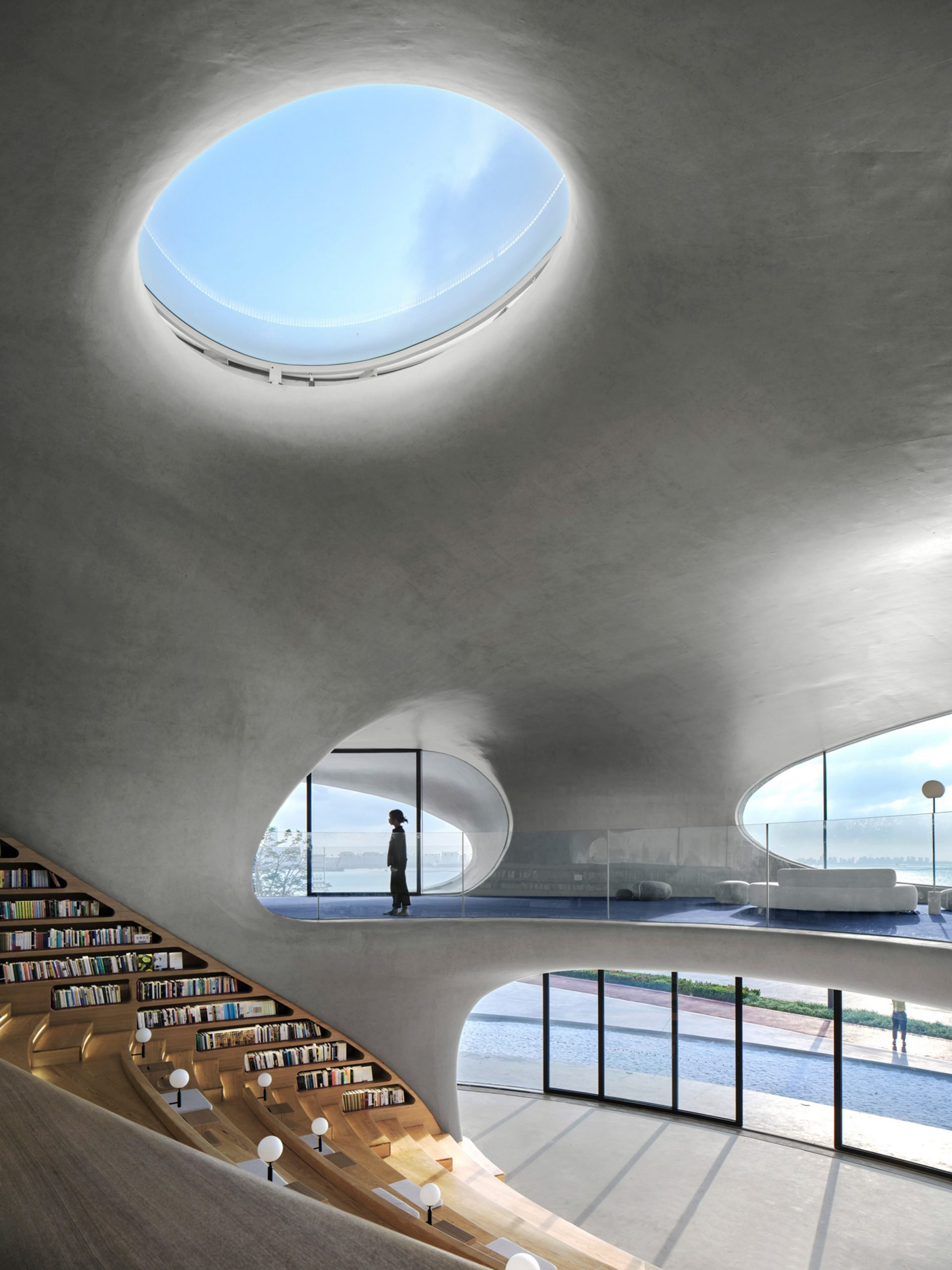 A concrete library with bleacher seating
