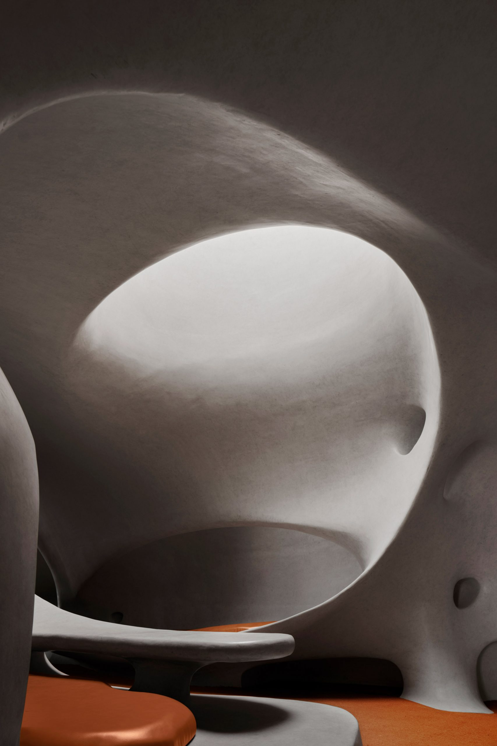 A white concrete reading room