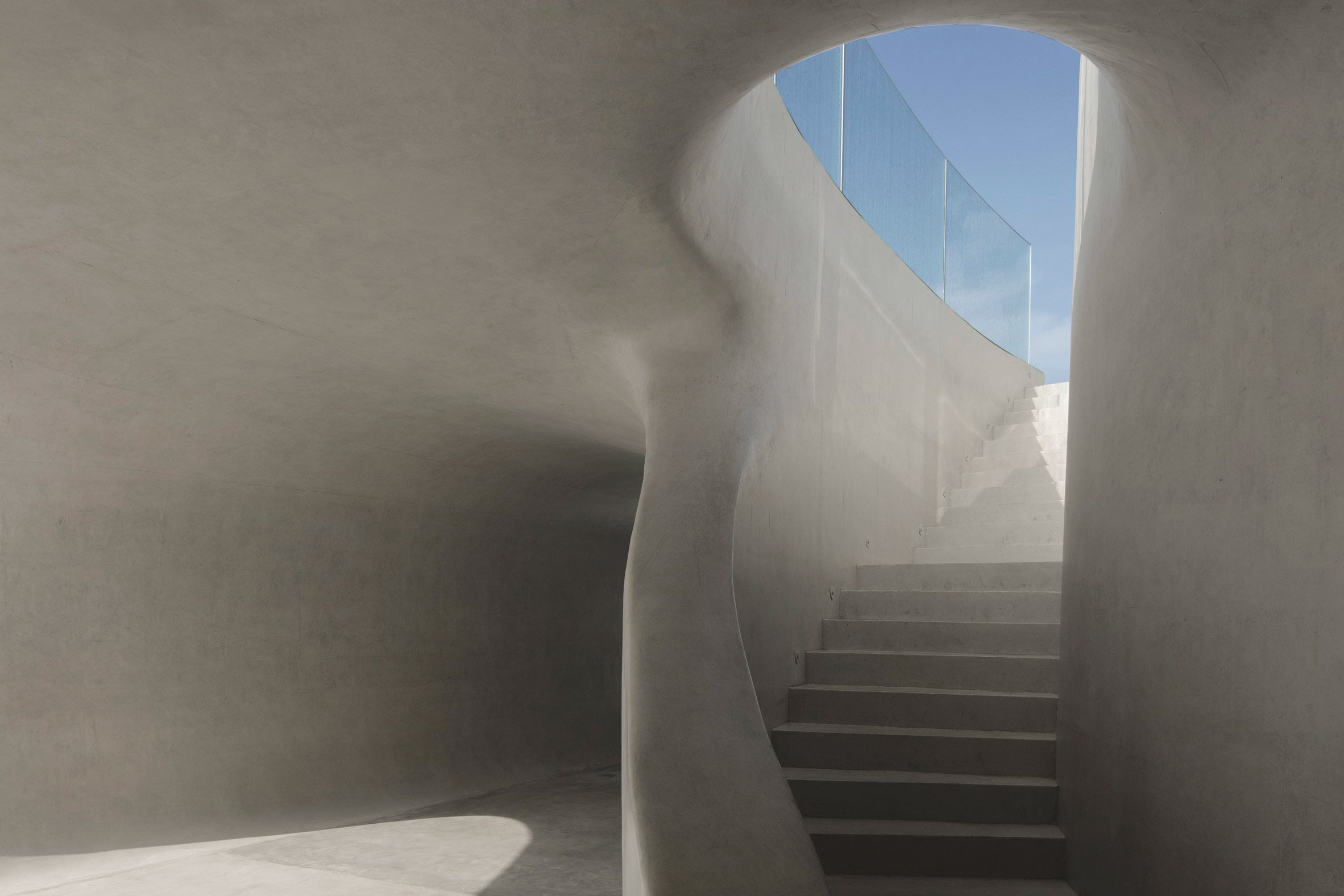 A white concrete staircase in the Cloudscape of Haikou