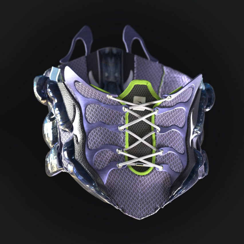 The corset reflects the design of the trainers by The Fabricant