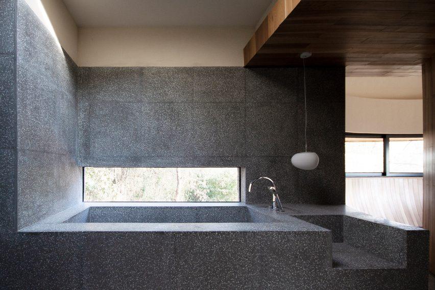 A terrazzo bathtub