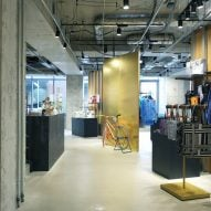 Golden walls and black store counters