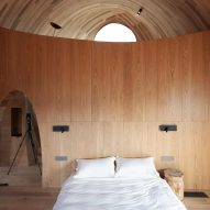 The wooden interiors of a holiday cabin