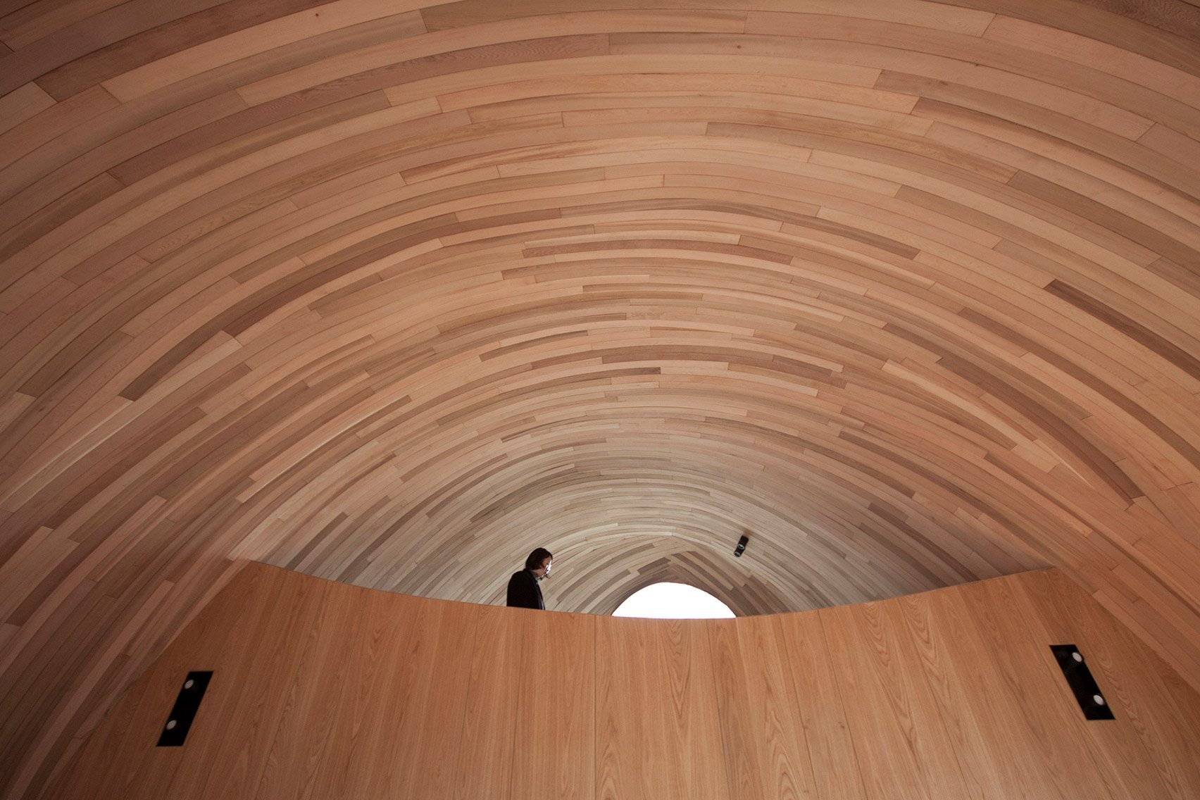 The wooden interiors of a Chinese holiday cabin