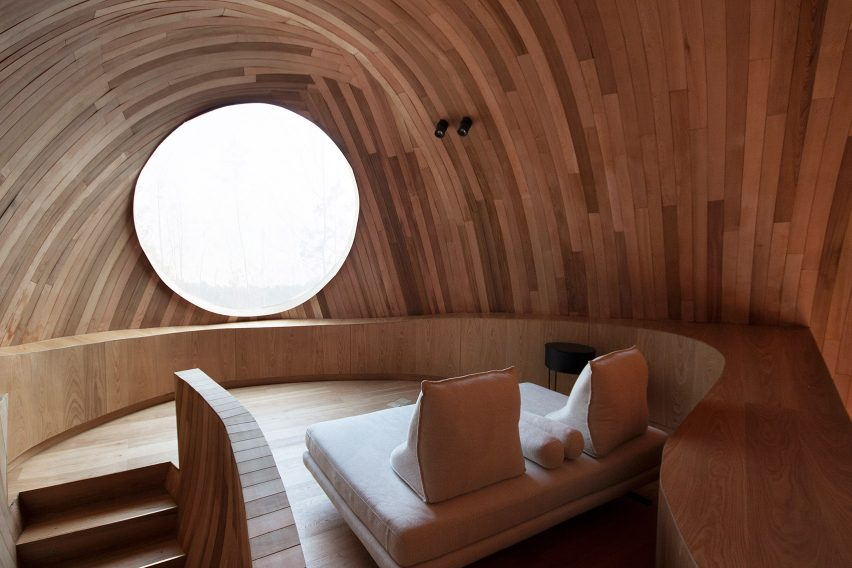 The interiors of a wooden cabin
