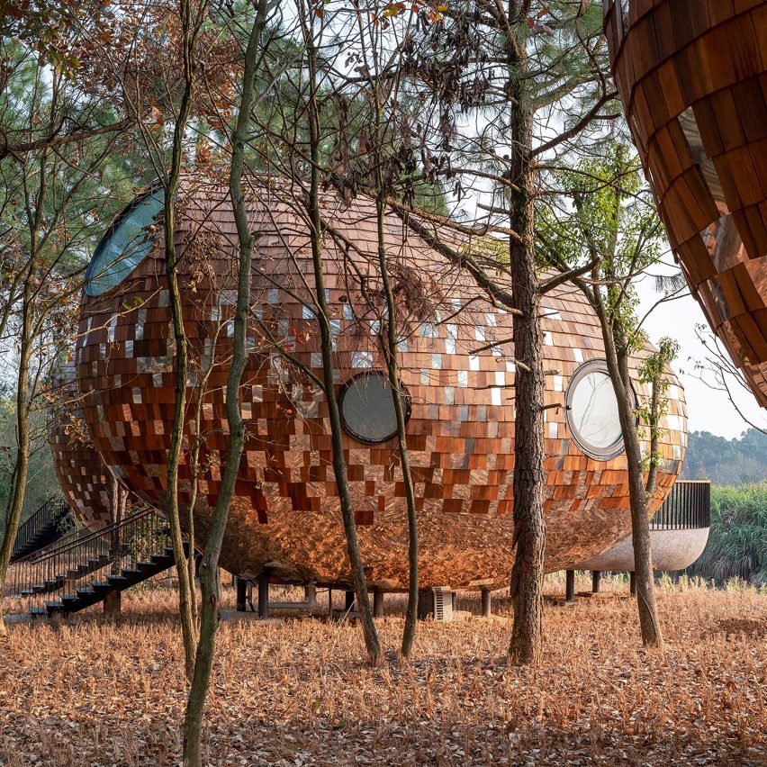 A wooden holiday cabin in China