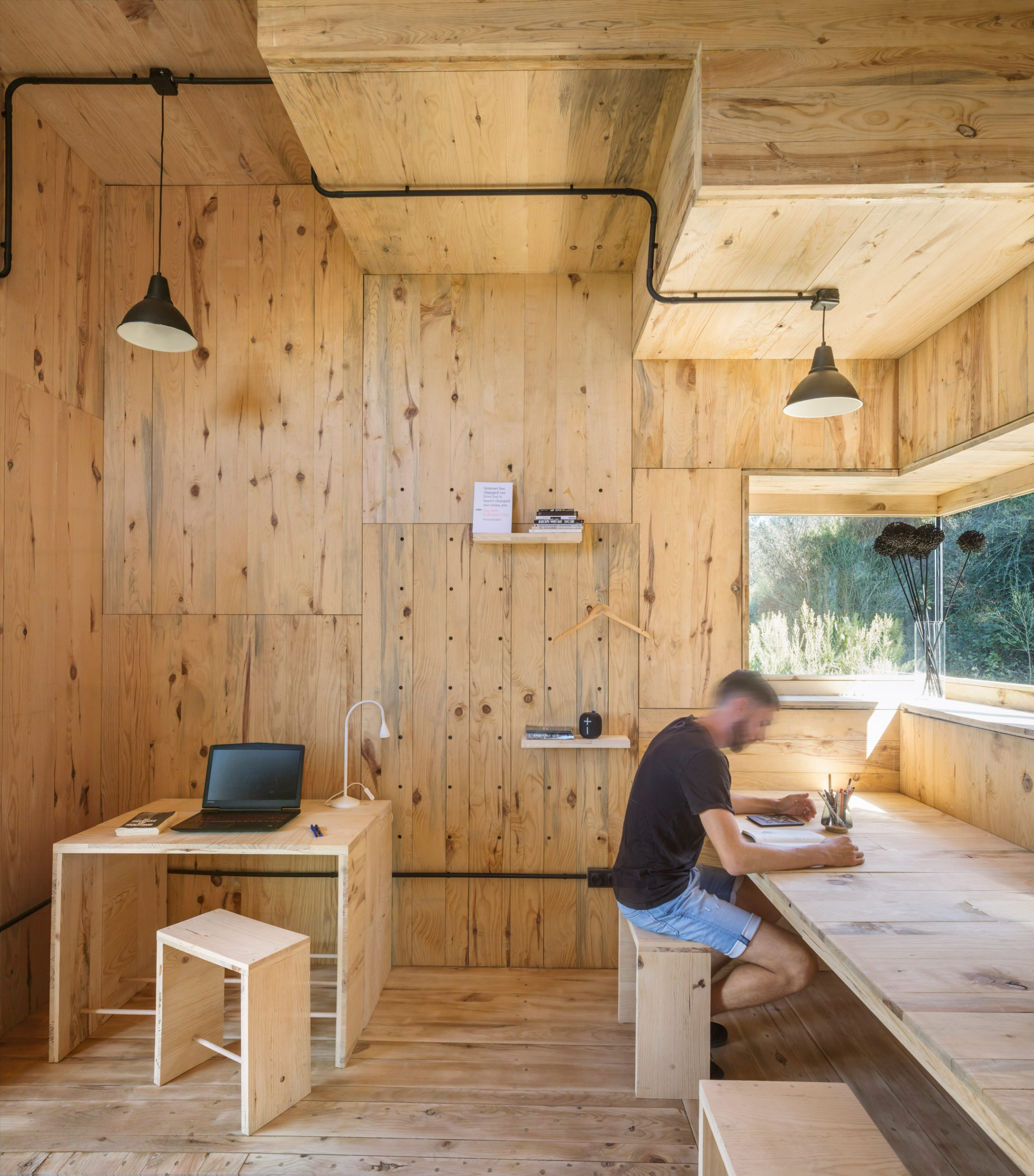 A cabin lined with pine wood