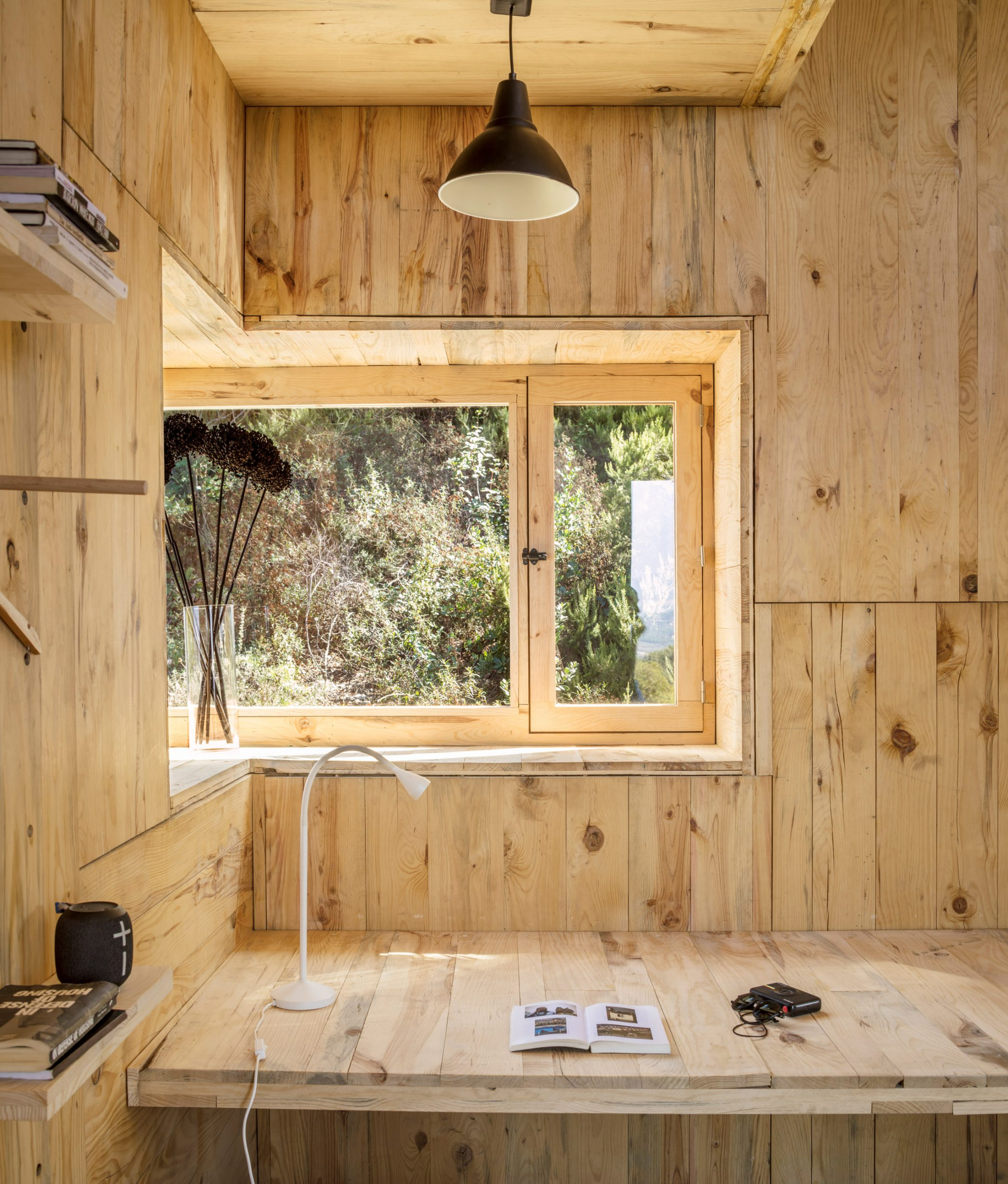 A desk inside The Voxel cabin