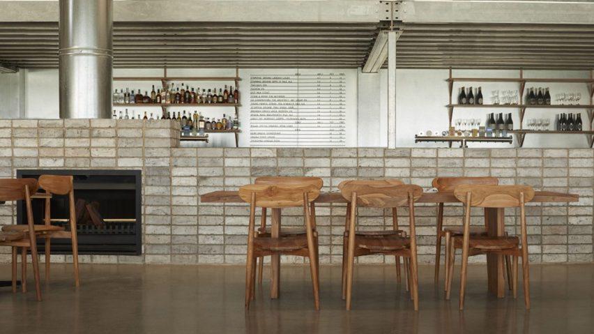 Grey brick counter in Three Blue Ducks restaurant in Melbourne Urbnsurf by Pattern