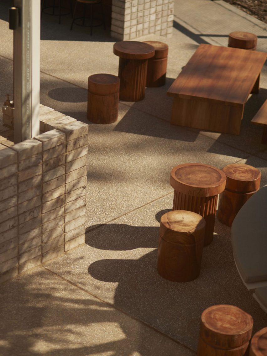 Outdoor dining area in Melbourne Urbnsurf restaurant