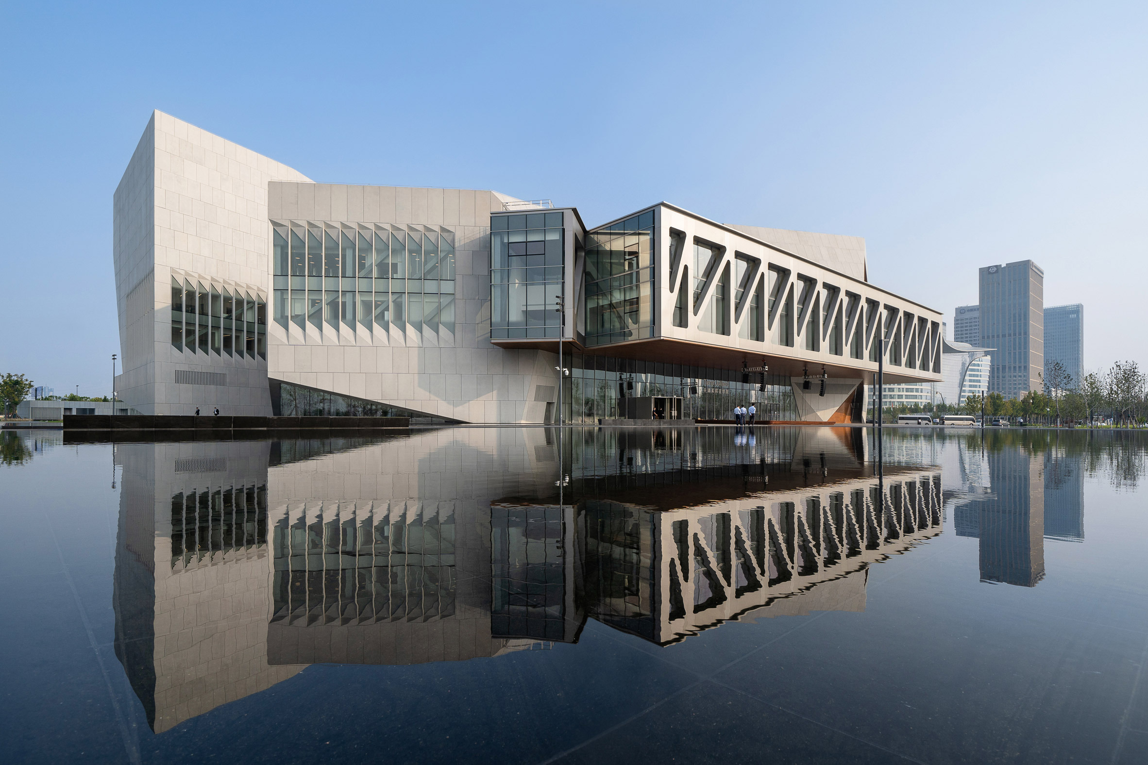 A concrete and steel clad music school in China