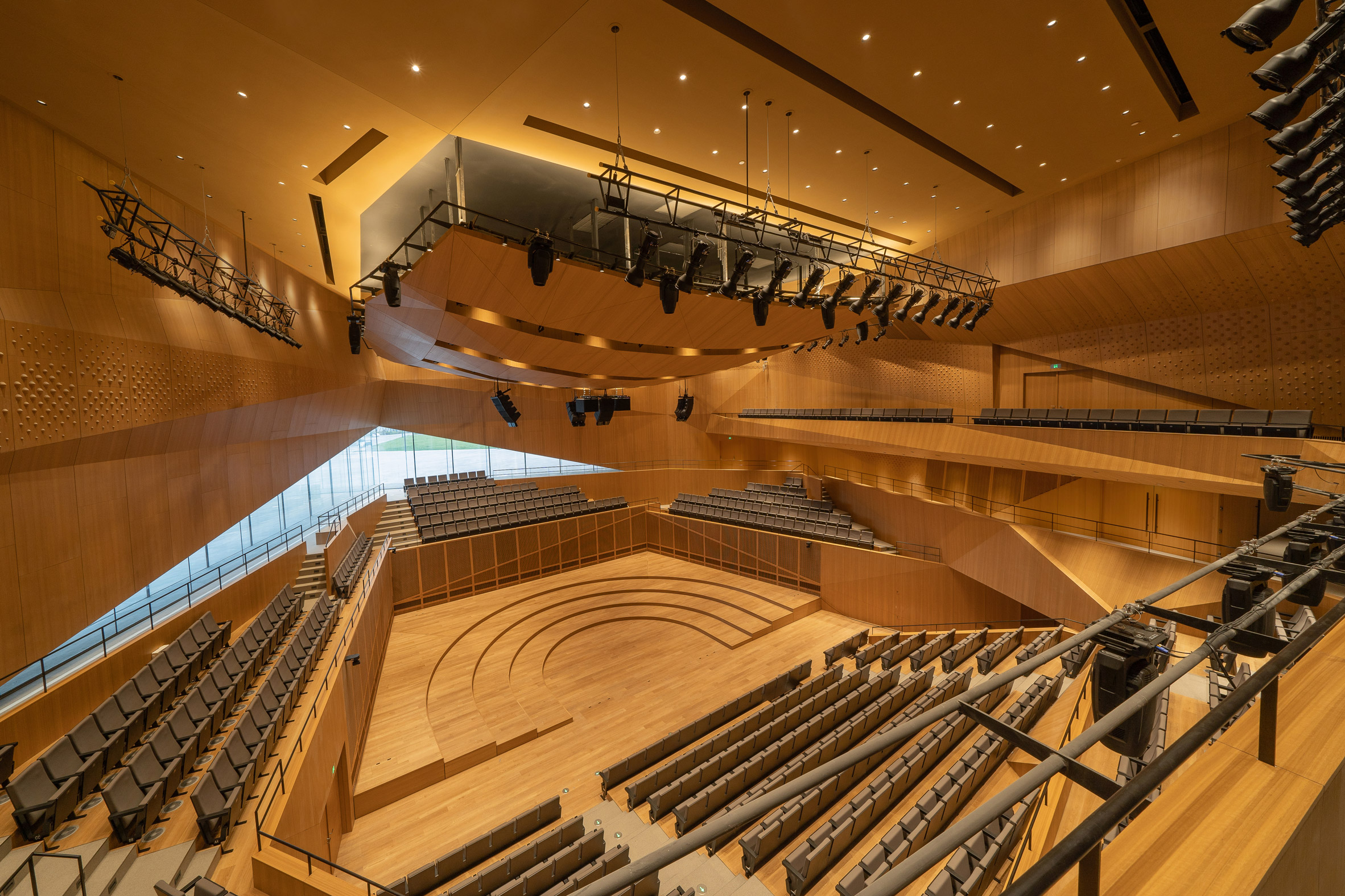 A wood-lined concert hall