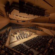 A wooden concert hall