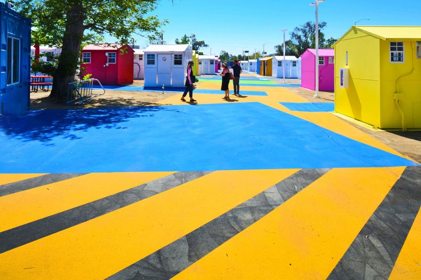 Brightly coloured asphalt in a homeless housing project in LA