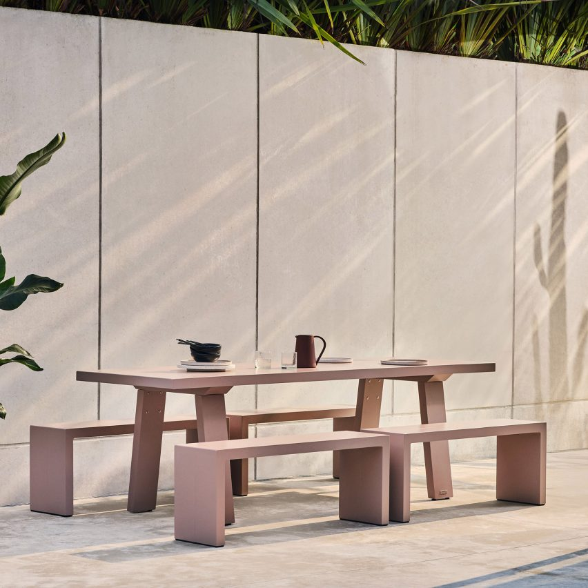 Pink Trestle table for outdoors