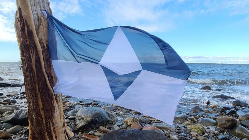 True South Antarctica flag by Evan Townsend shown in Penobscot Bay Maine