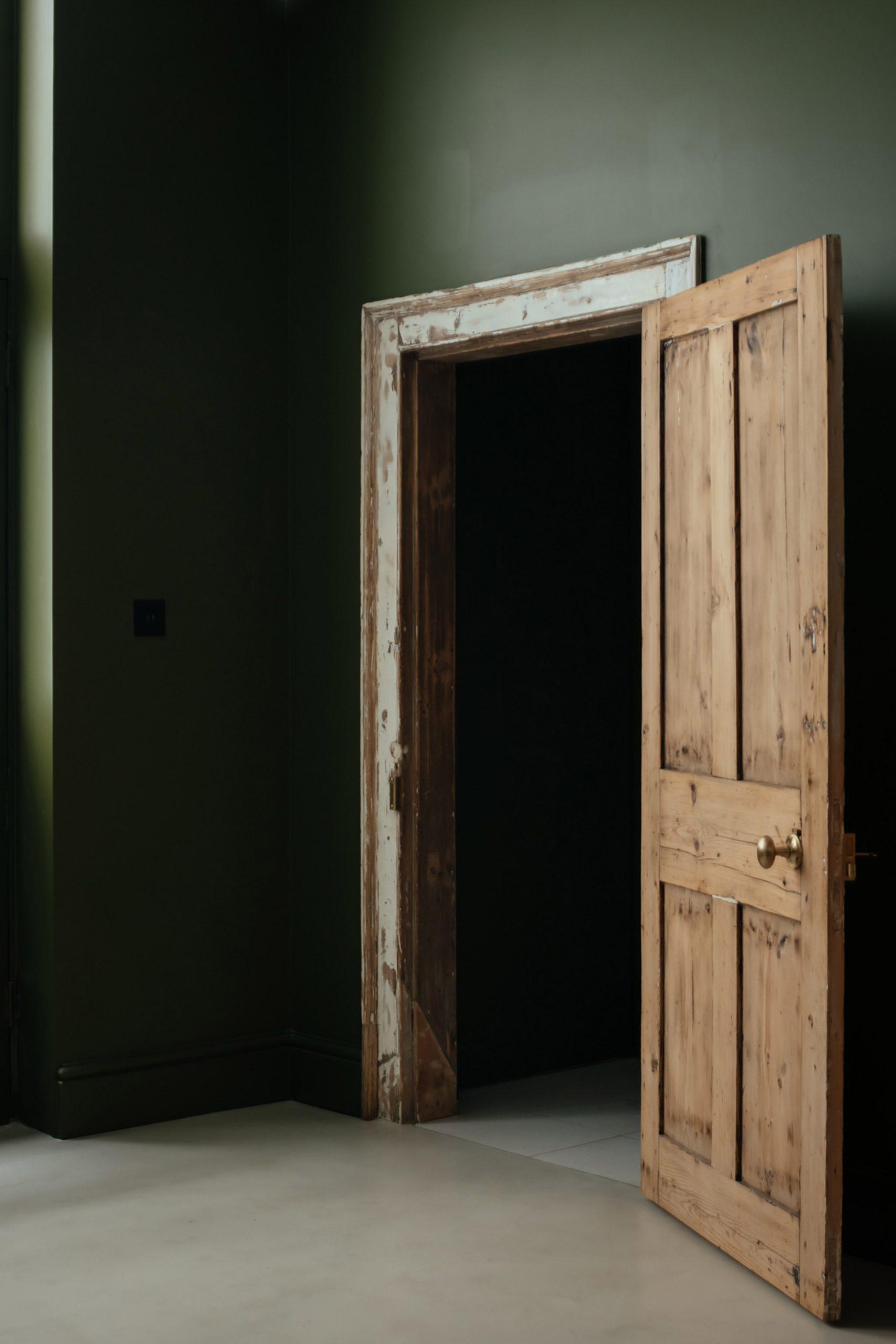 Restored Georgian door in Unearthed Vault apartment