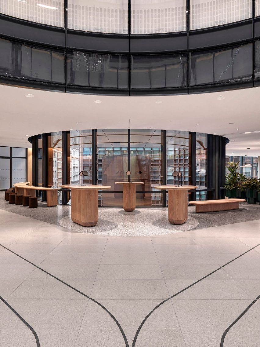 Breakout areas in office lobby