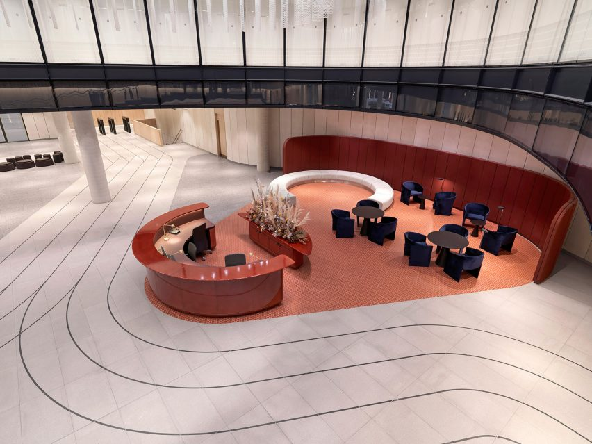 Terrazzo tracks in office lobby by Universal Designs Studio