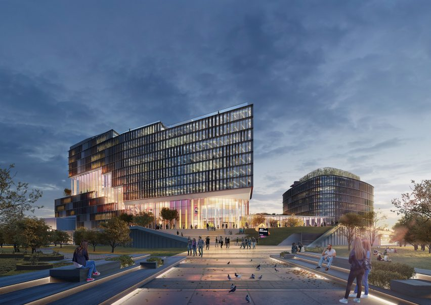 A large courtyard will connect the existing building with the office by UNStudio