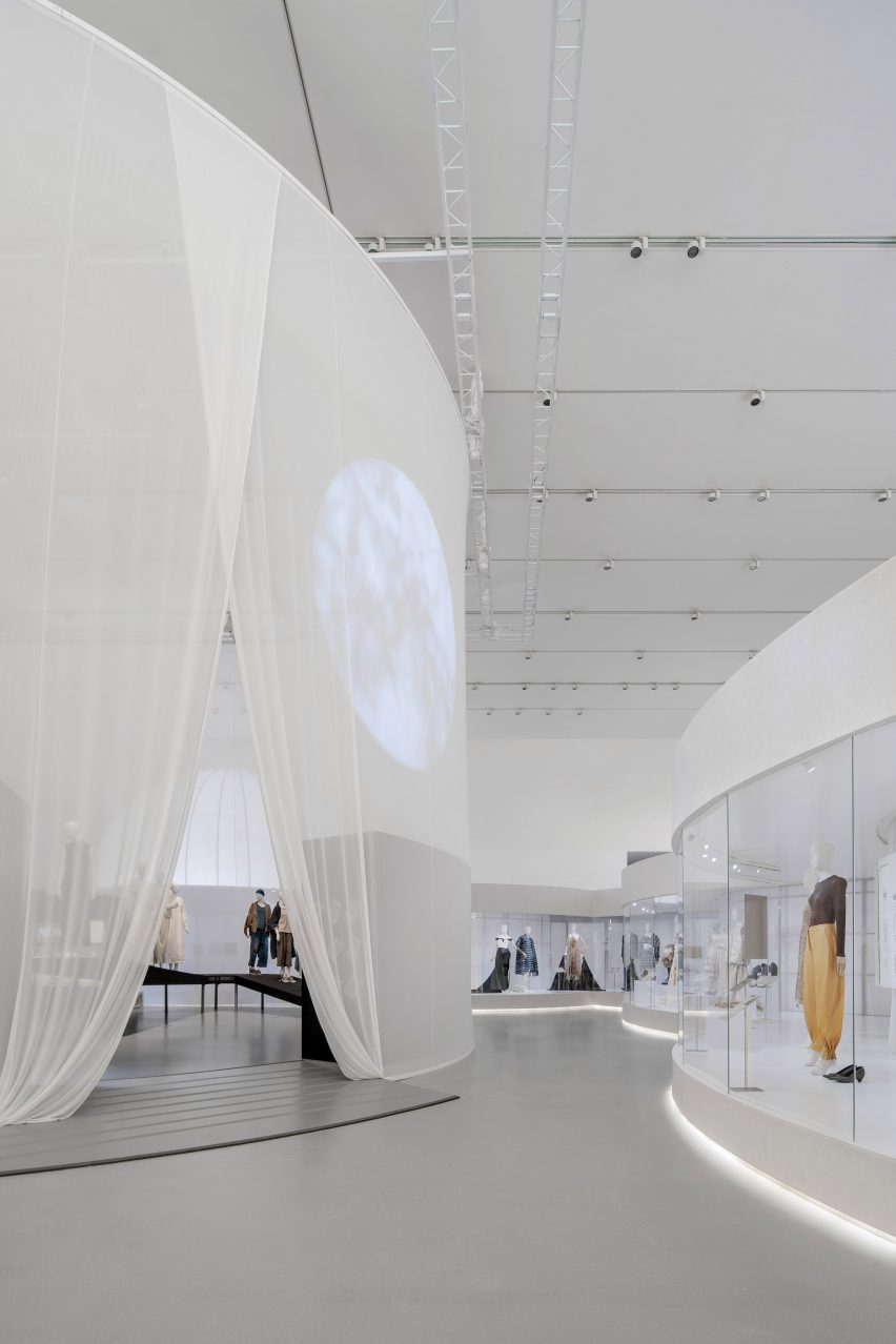 Images are projected onto the translucent fabrics