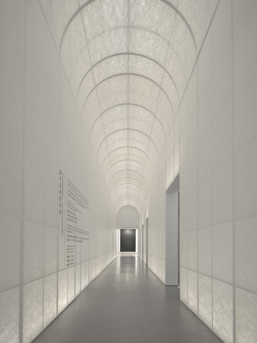 A long fabric corridor marks the entrance by Studio 10
