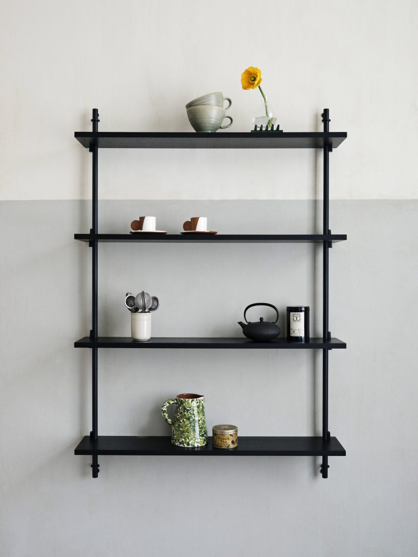 Modular black wall shelving