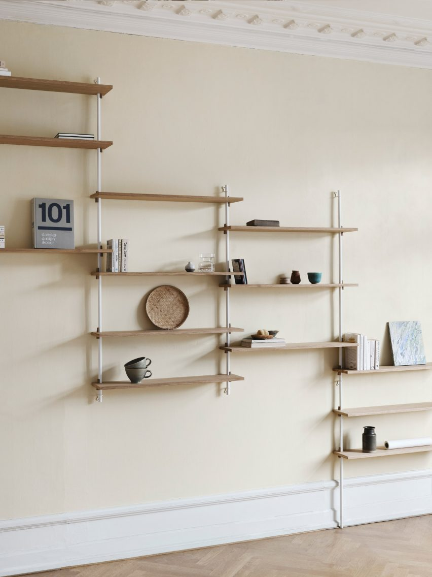 Wall-mounted oak shelves