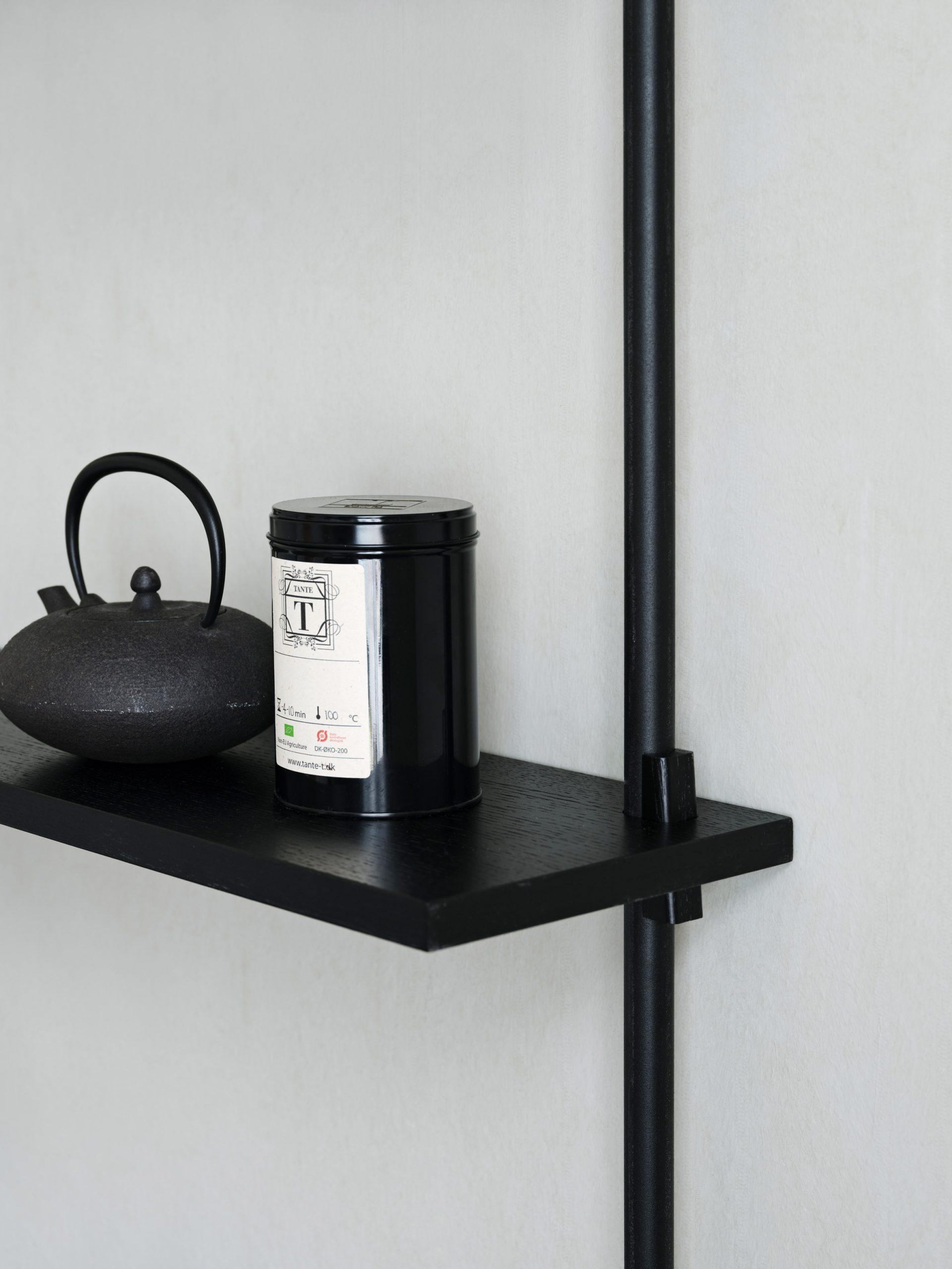 A black shelf
