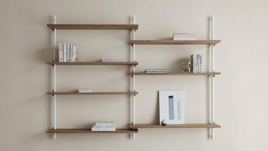 Oak shelves mounted on a white frame