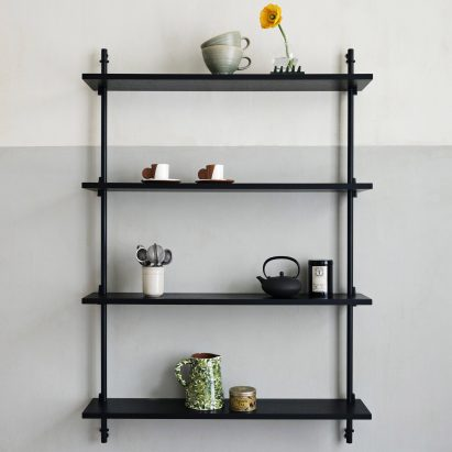 Black wall-mounted shelves